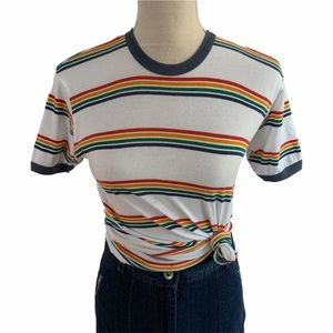 UO Truly Madly Deeply Retro Striped Ringer Tee